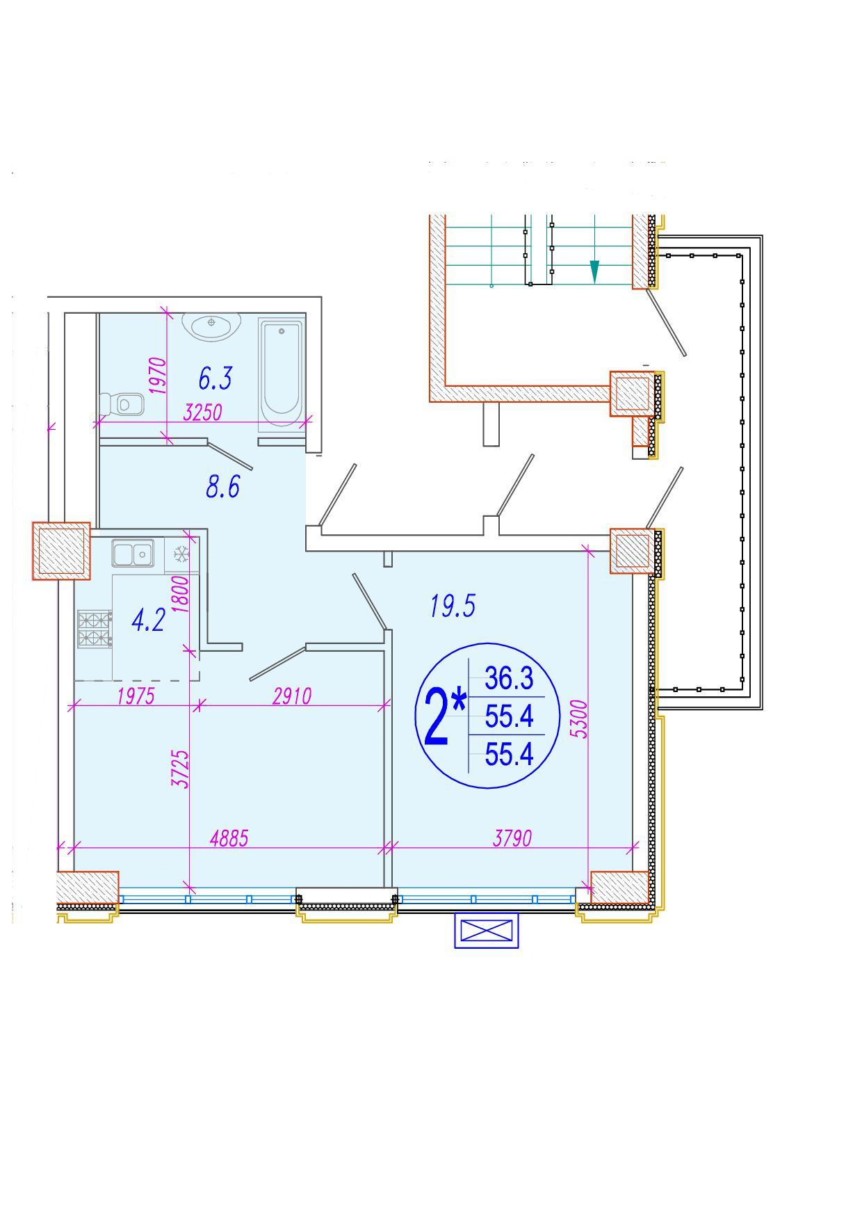 2-комнатная смарт 55.9<span>м<sup>2</sup></span>