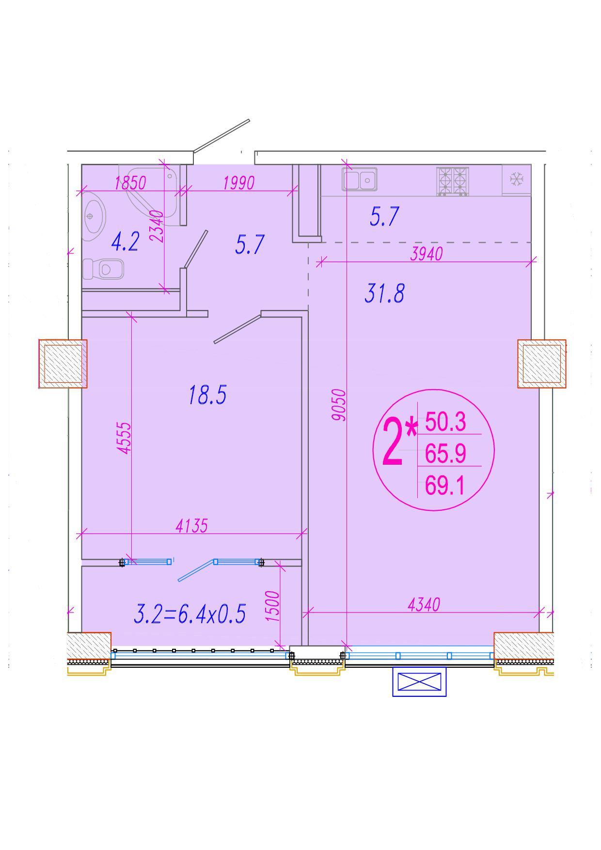 2-комнатная смарт 67.5<span>м<sup>2</sup></span>