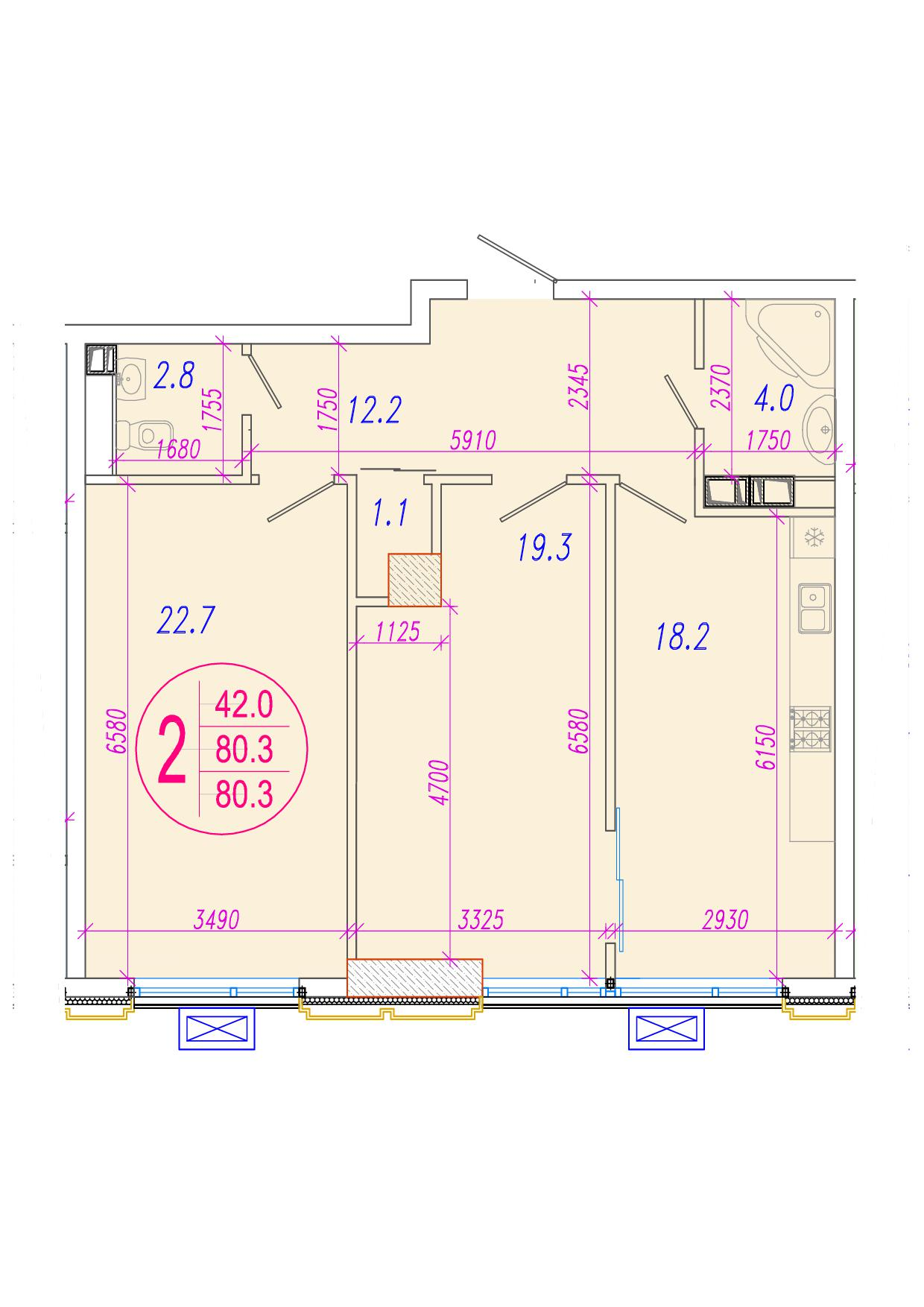 2-комнатная 82.4<span>м<sup>2</sup></span>