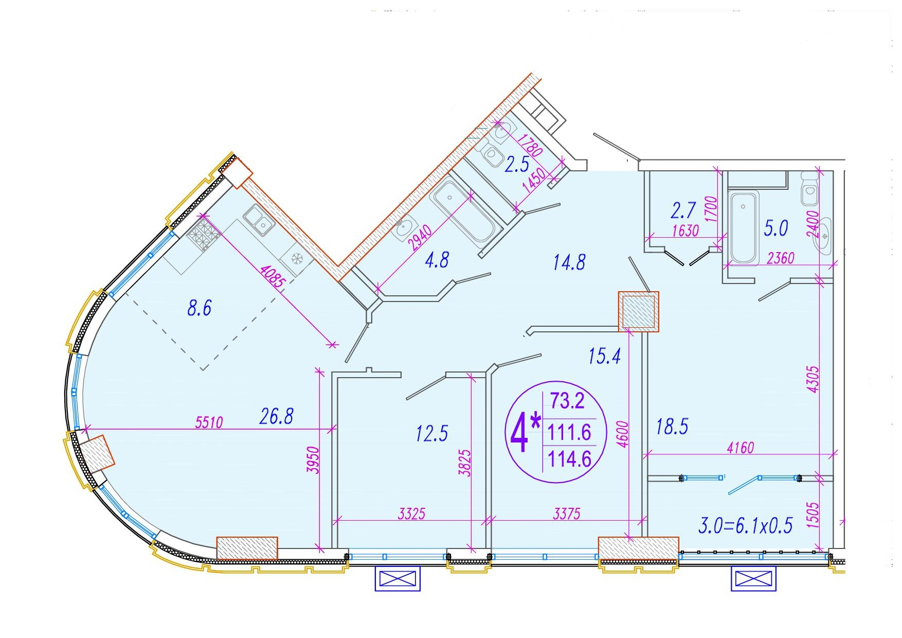 4-комнатная смарт 114.7<span>м<sup>2</sup></span>