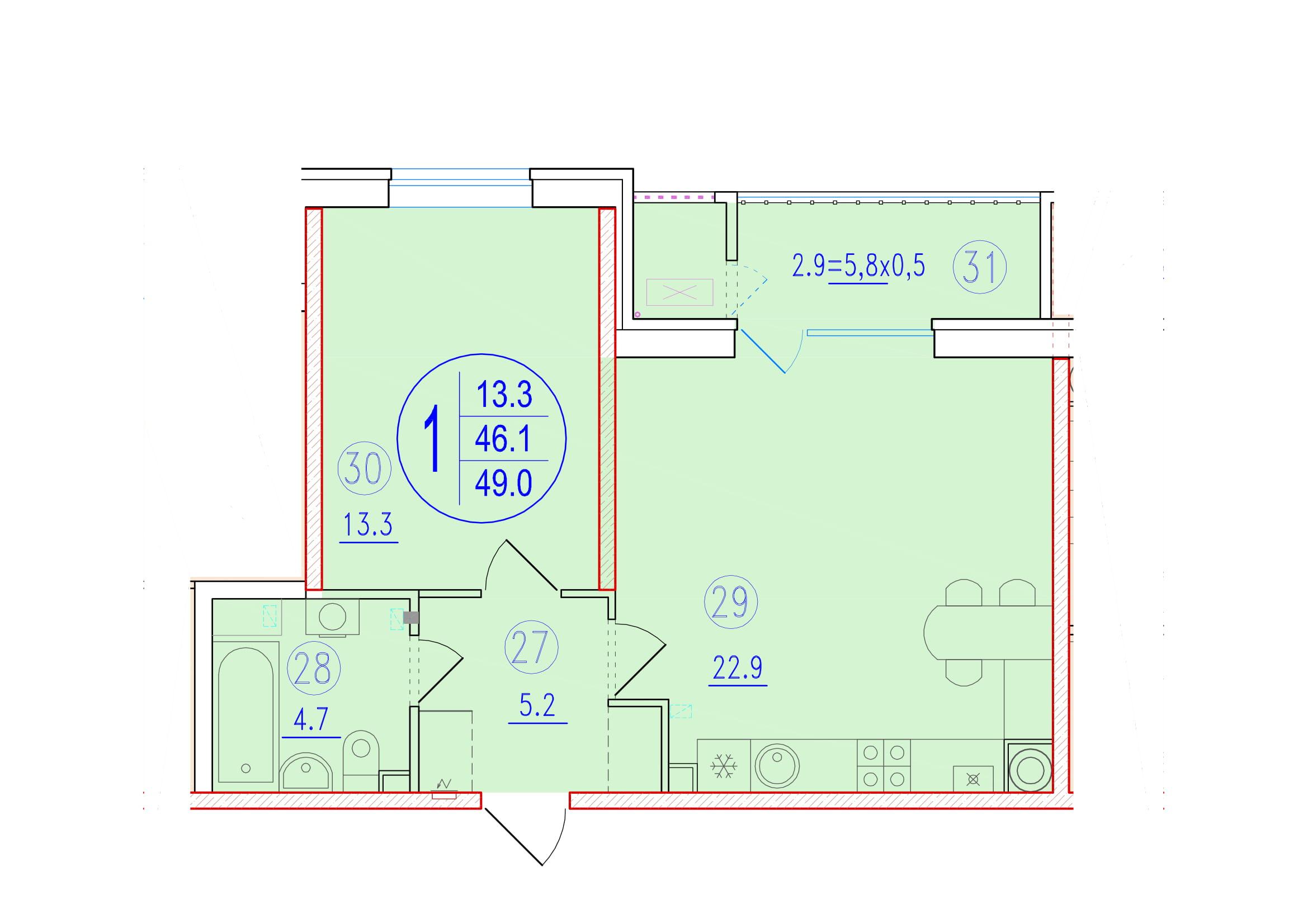 1-комнатная смарт 49<span>м<sup>2</sup></span>