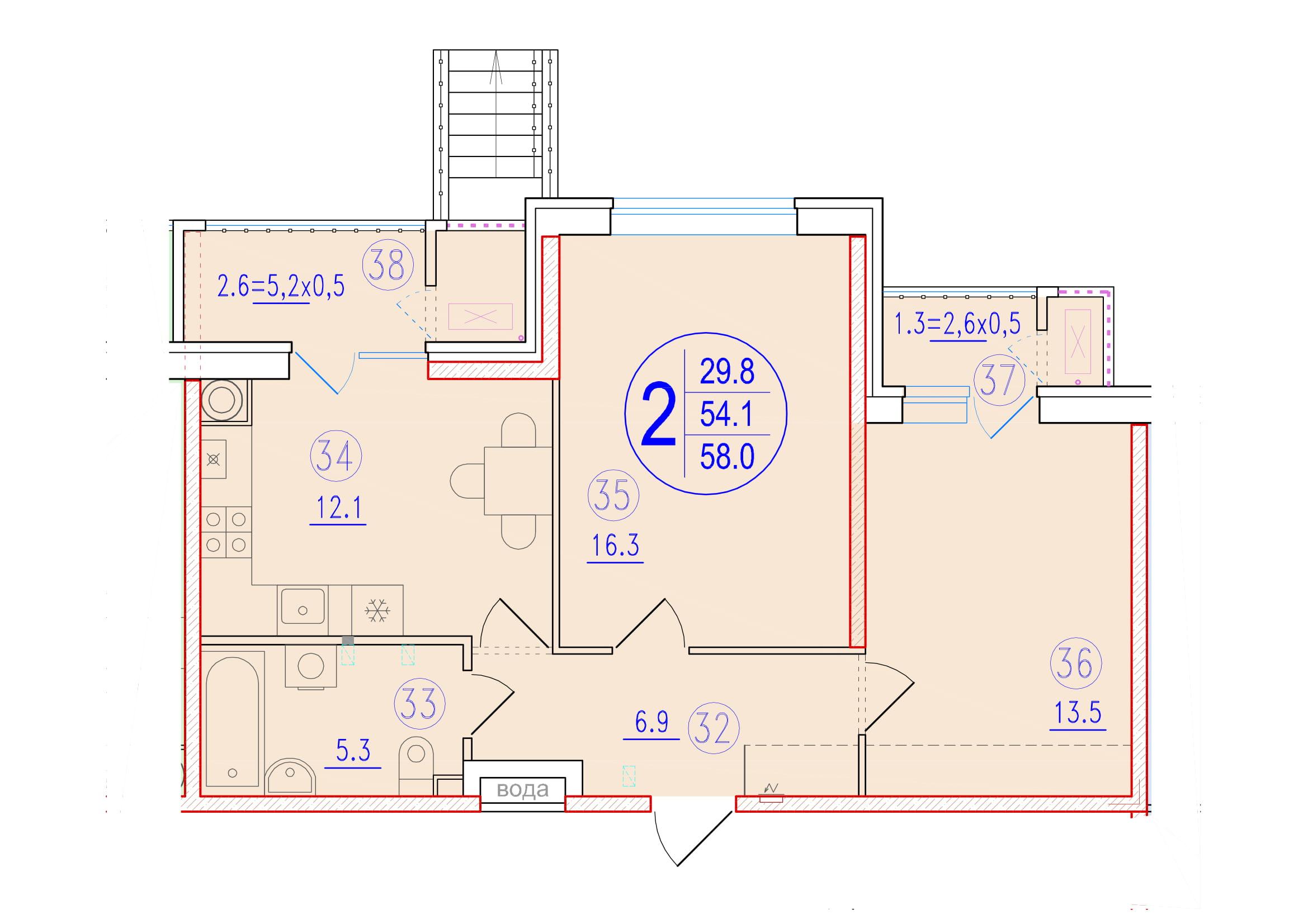 2-комнатная 58<span>м<sup>2</sup></span>
