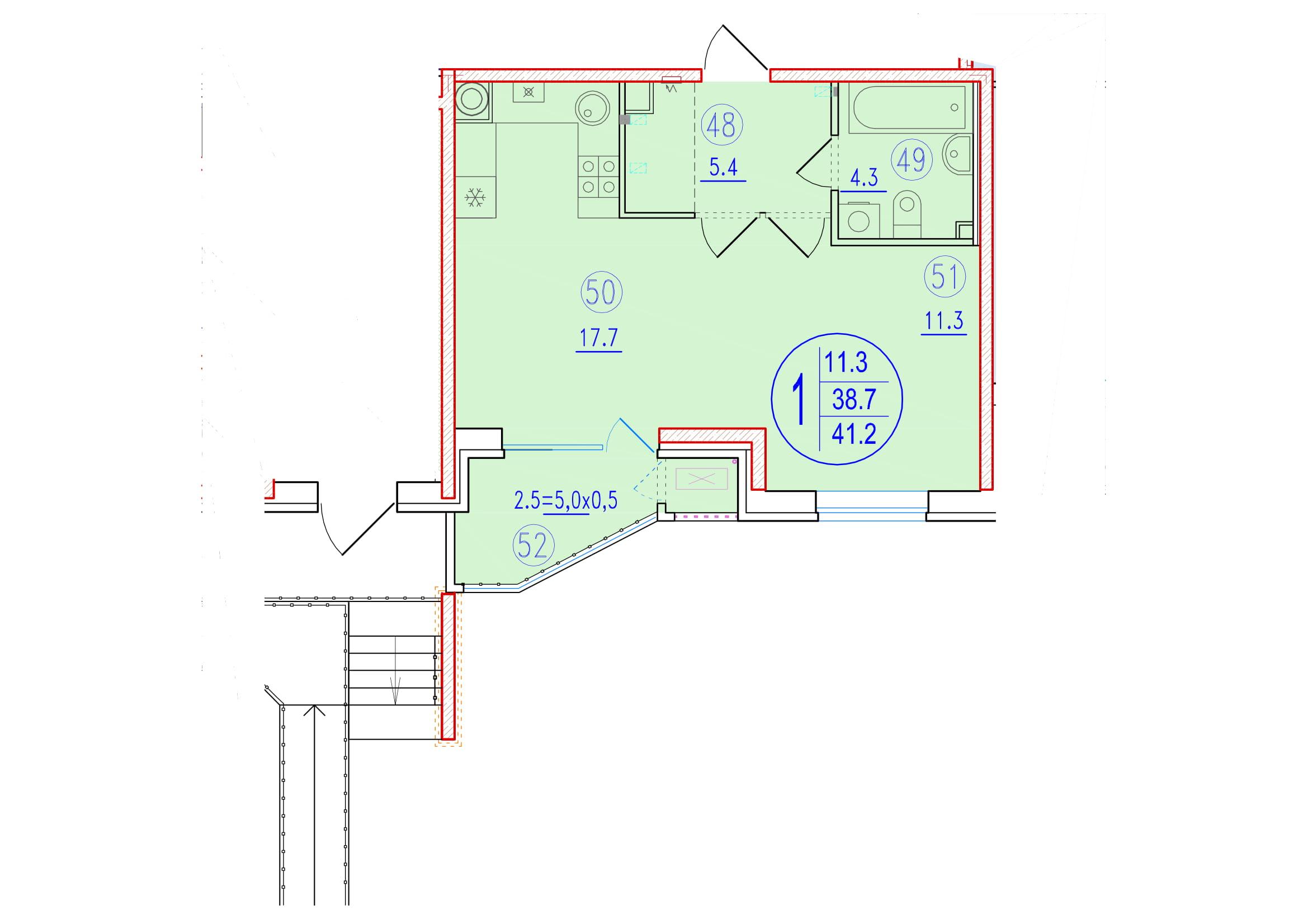 1-комнатная смарт 41.2<span>м<sup>2</sup></span>