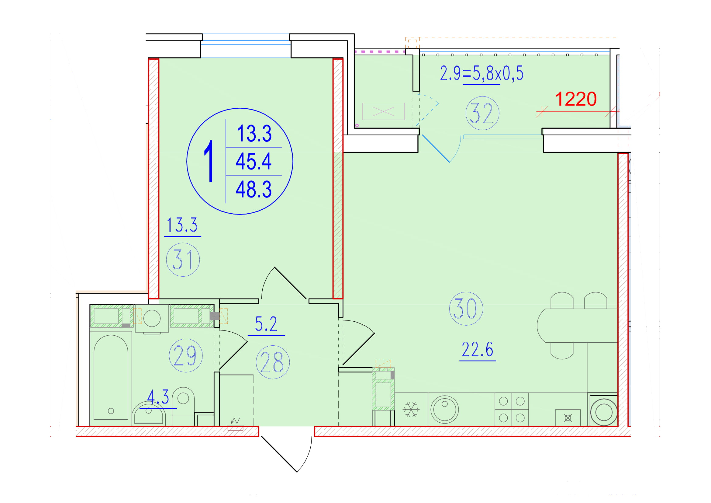 1-комнатная смарт 48.3<span>м<sup>2</sup></span>