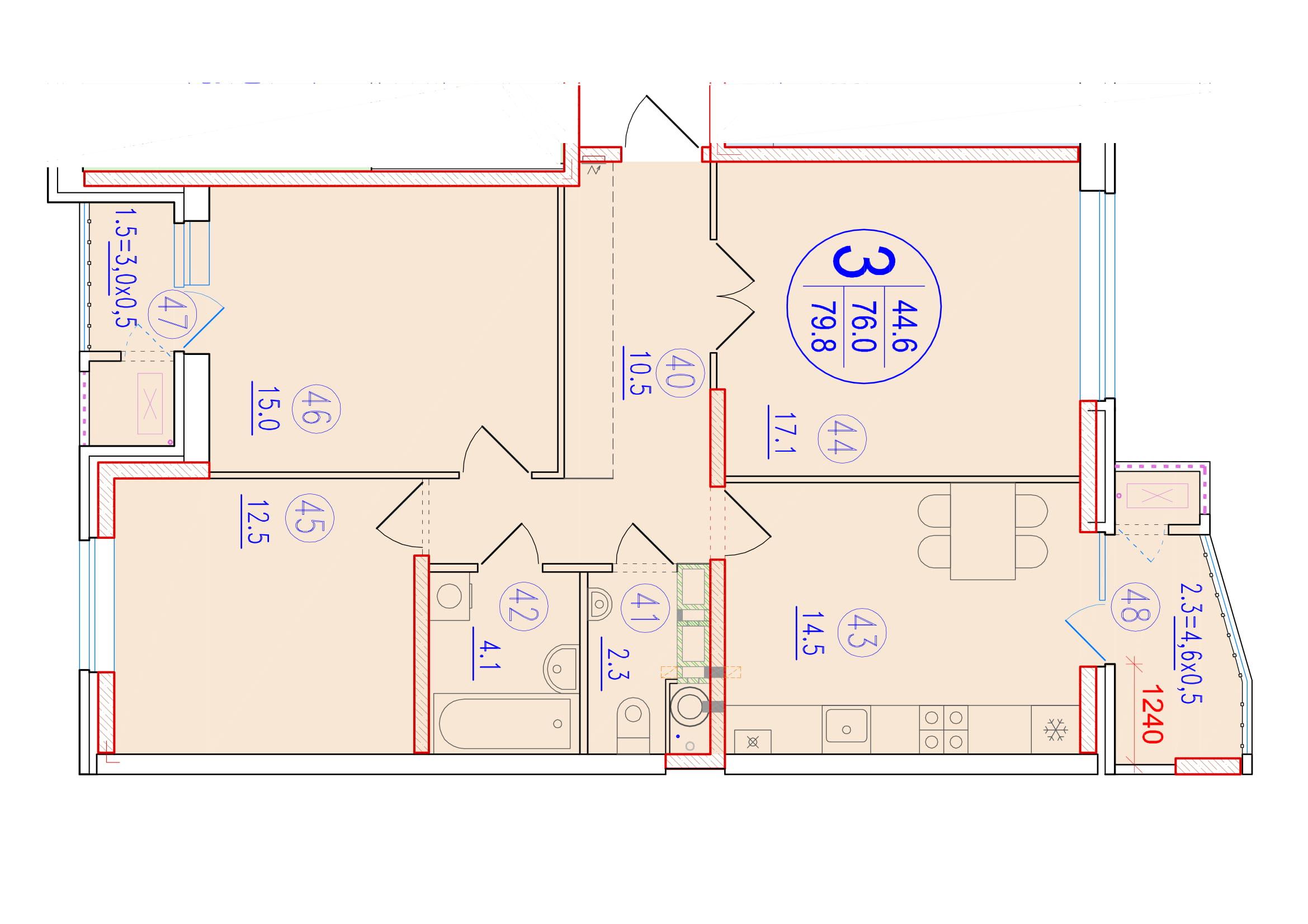 3-комнатная 79.8<span>м<sup>2</sup></span>
