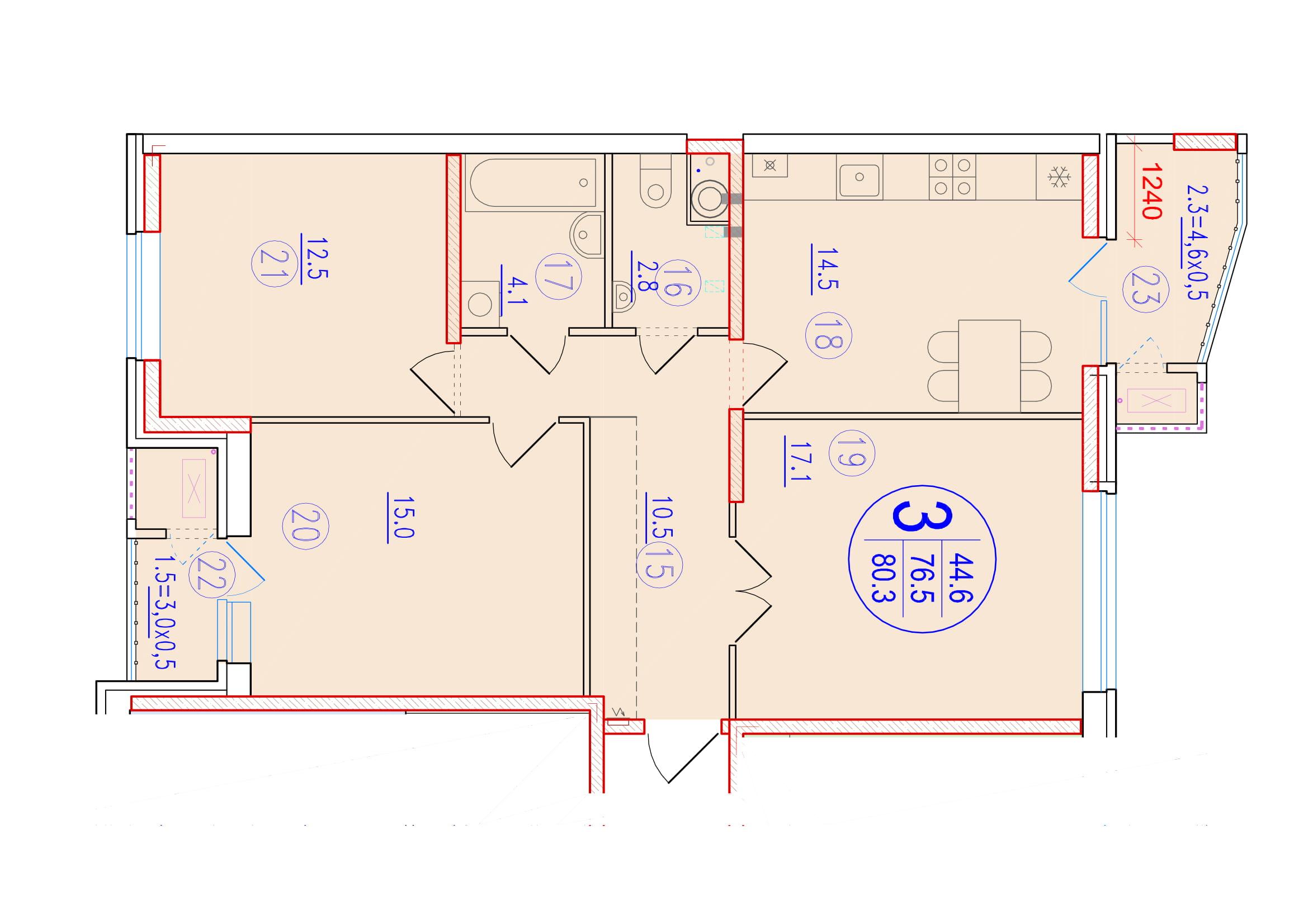 3-комнатная 80.3<span>м<sup>2</sup></span>