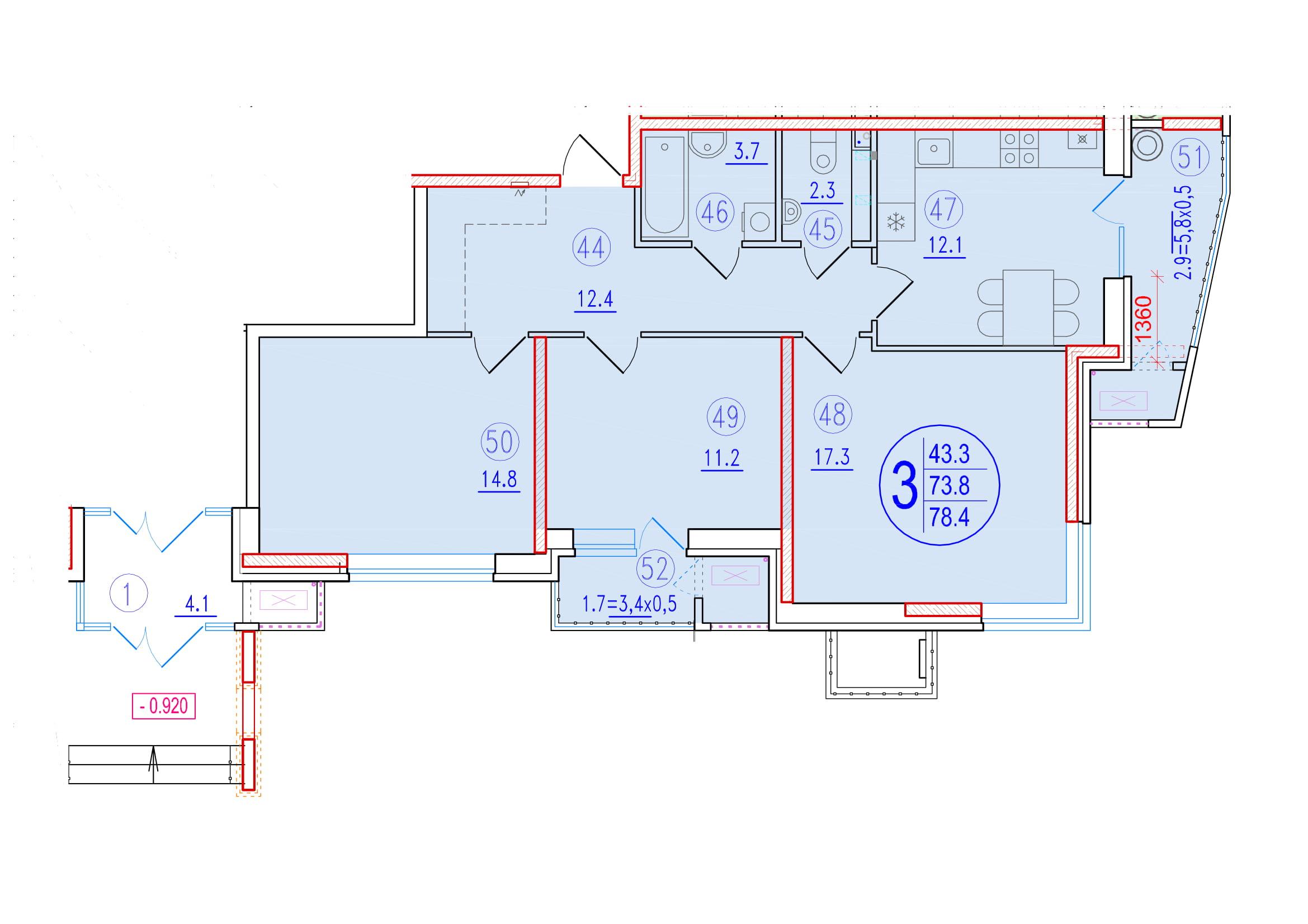 3-комнатная 78.4<span>м<sup>2</sup></span>