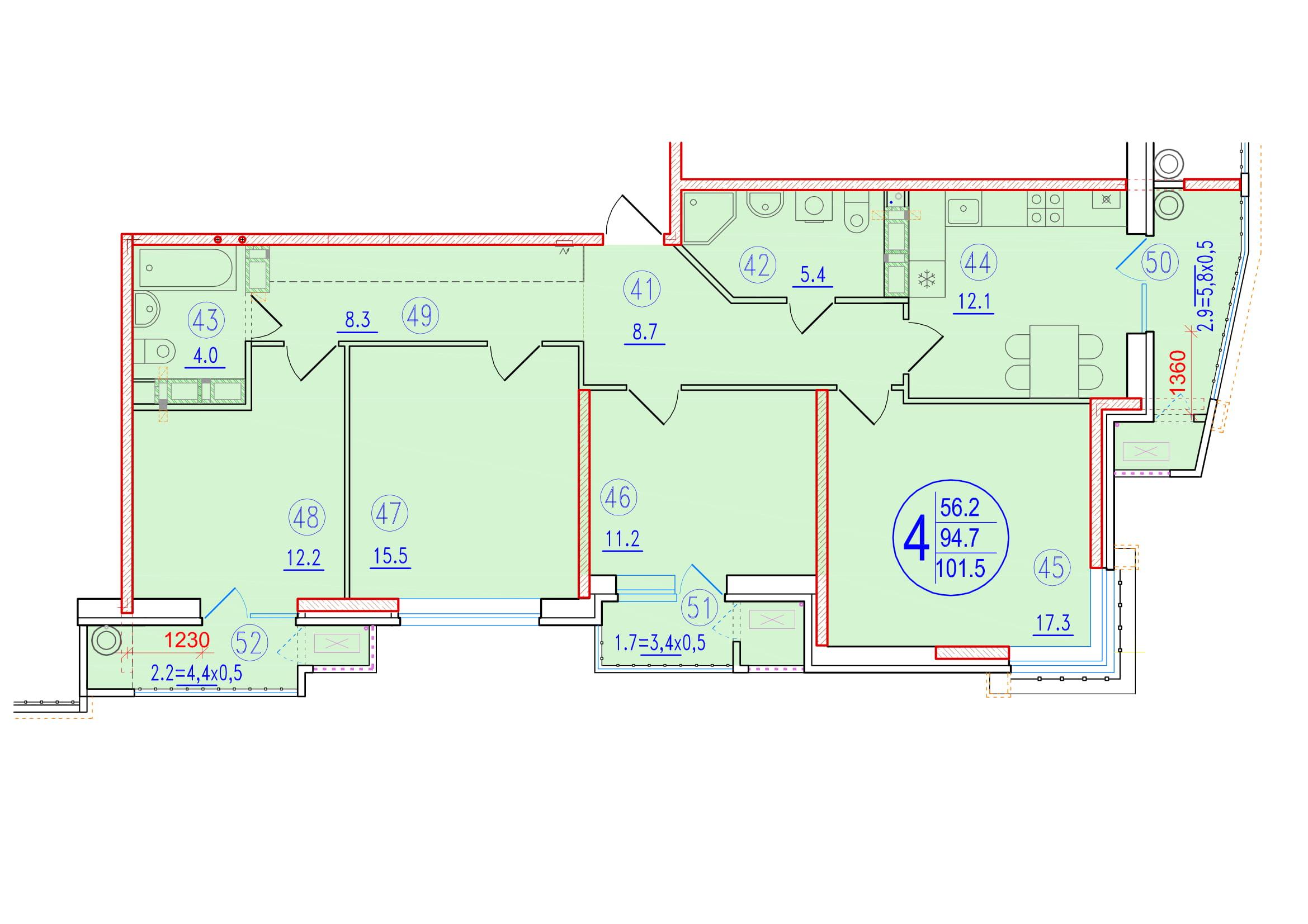 4-комнатная 101.5<span>м<sup>2</sup></span>