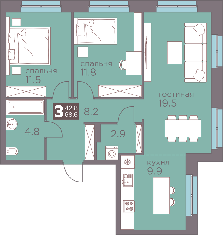 3-комнатная 68.6<span>м<sup>2</sup></span>