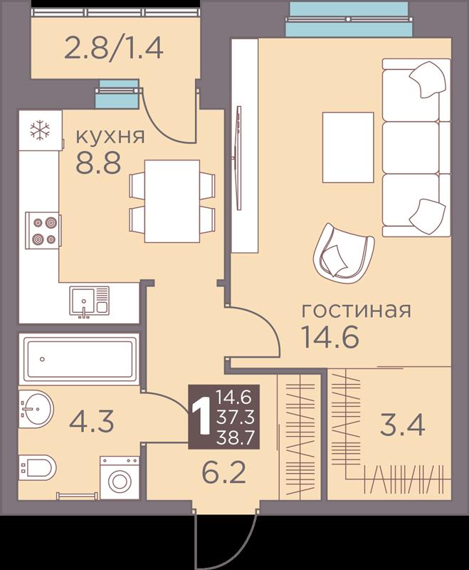 1-комнатная 38.7<span>м<sup>2</sup></span>