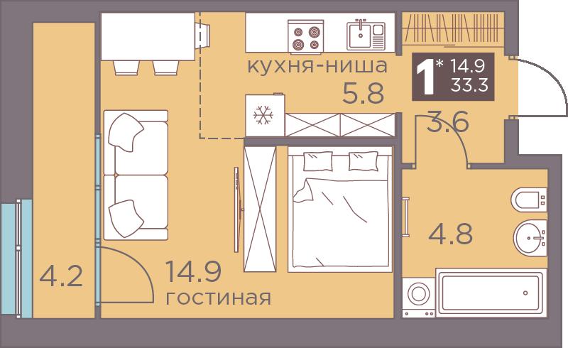 1-комнатная смарт 33.3<span>м<sup>2</sup></span>