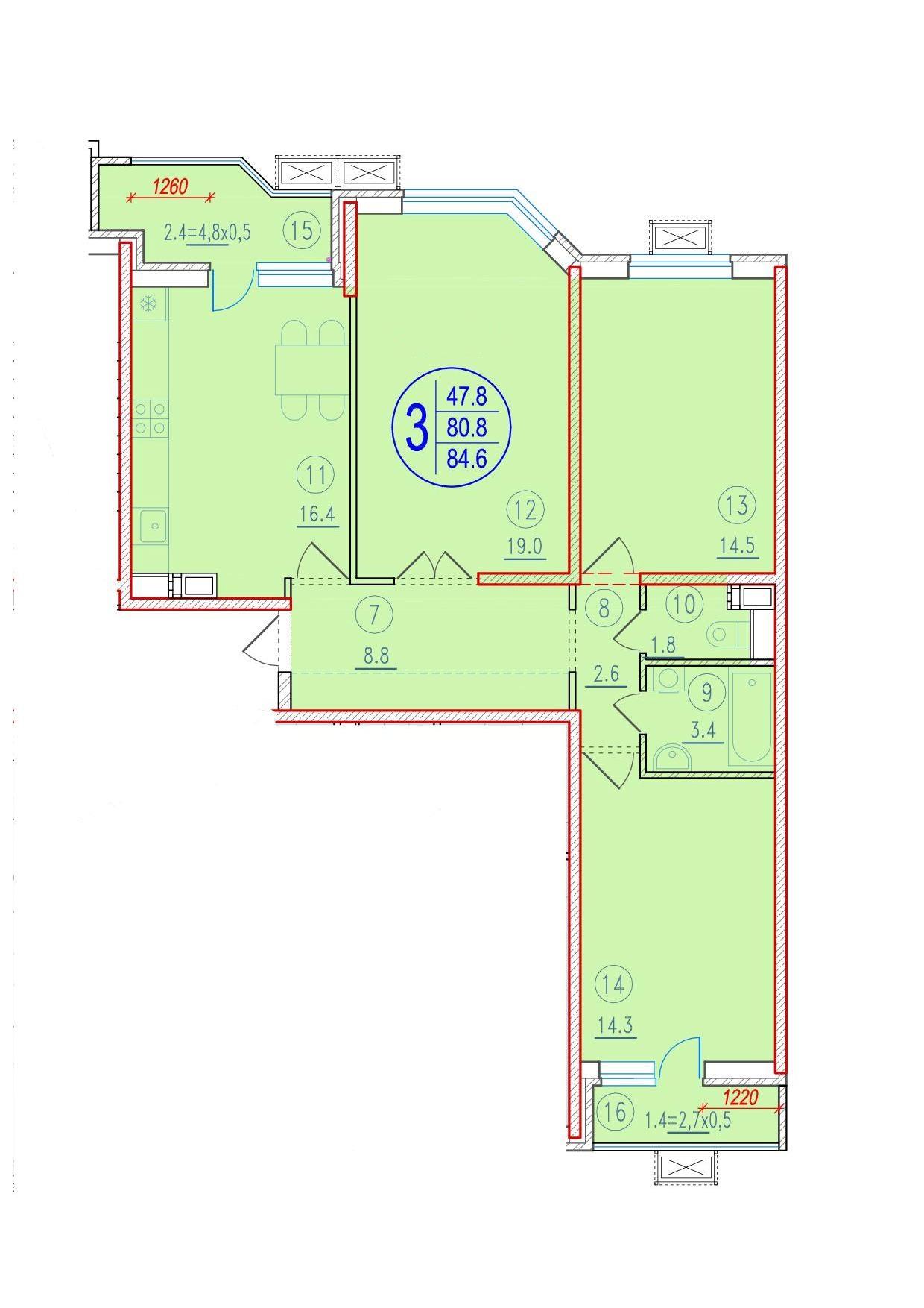 3-комнатная 84.6<span>м<sup>2</sup></span>
