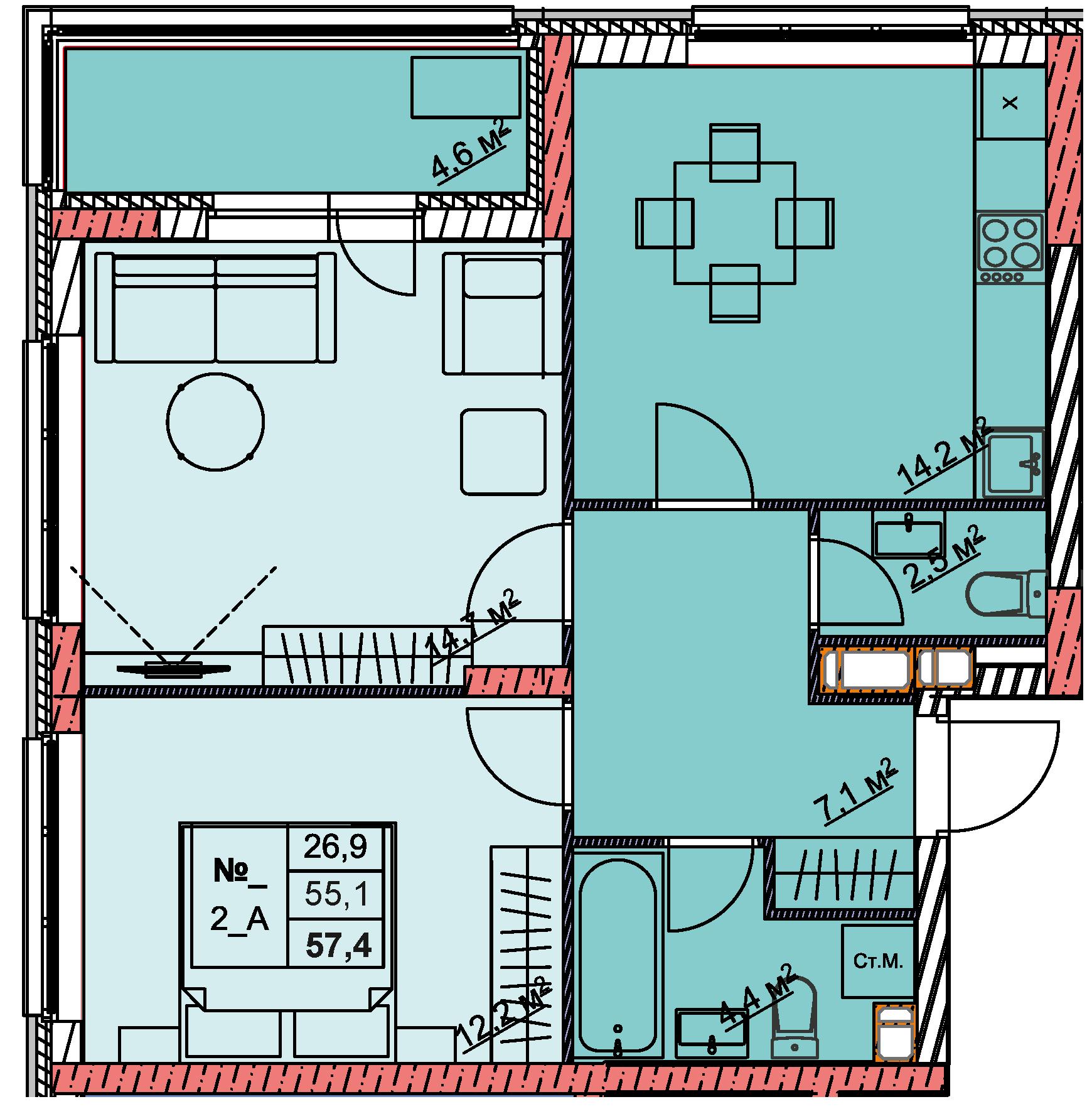 2-комнатная 57.4<span>м<sup>2</sup></span>