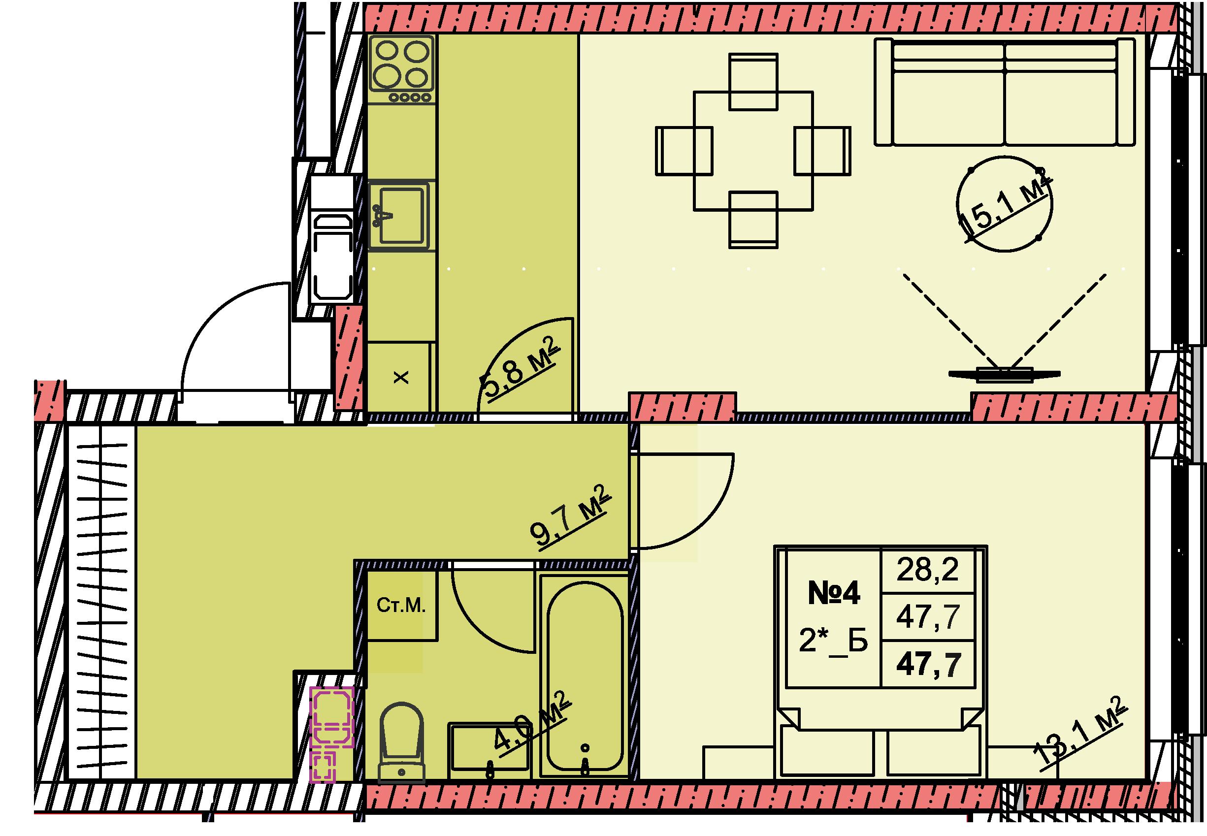 2-комнатная смарт 47.7<span>м<sup>2</sup></span>