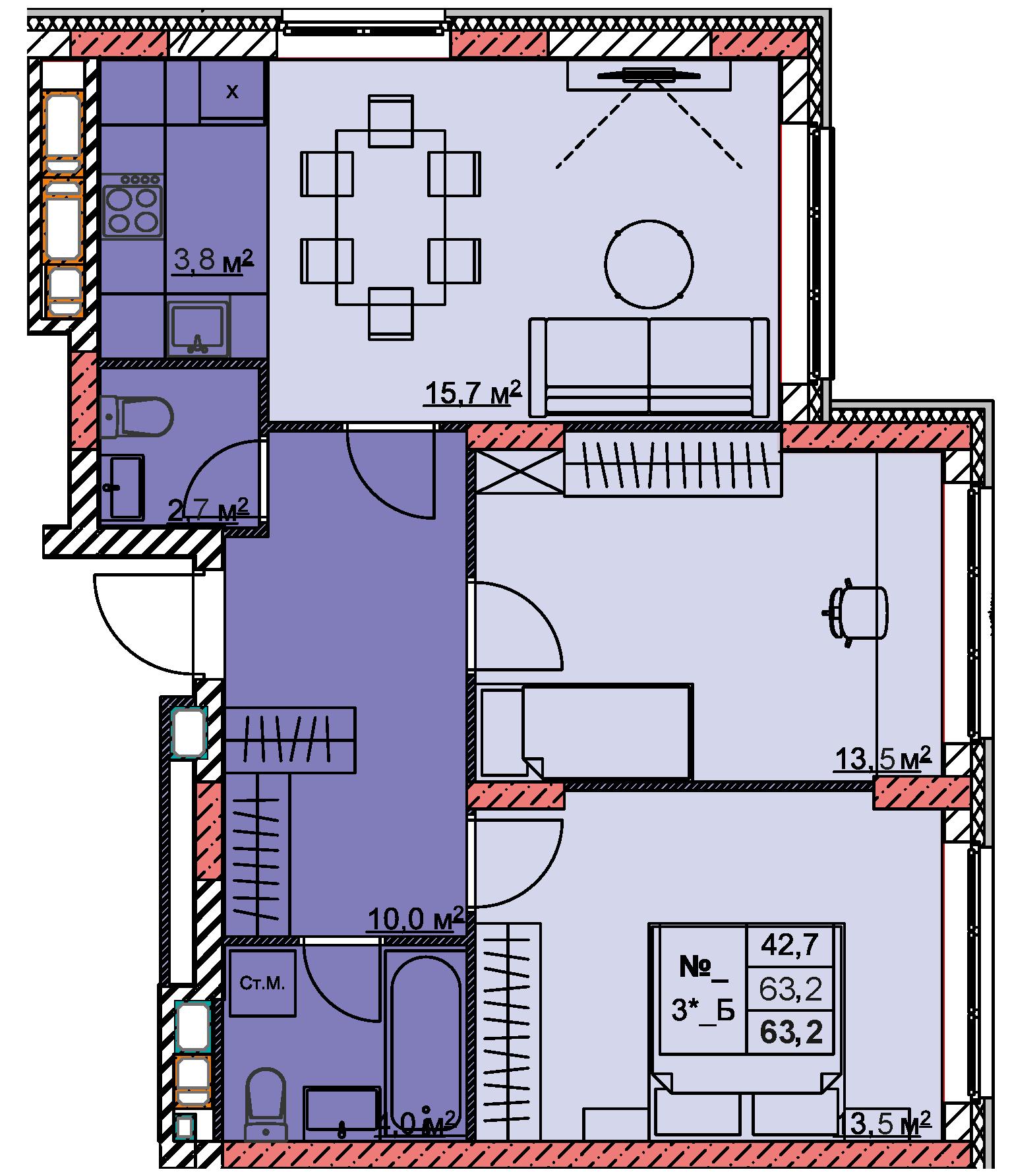 3-комнатная смарт 63.2<span>м<sup>2</sup></span>