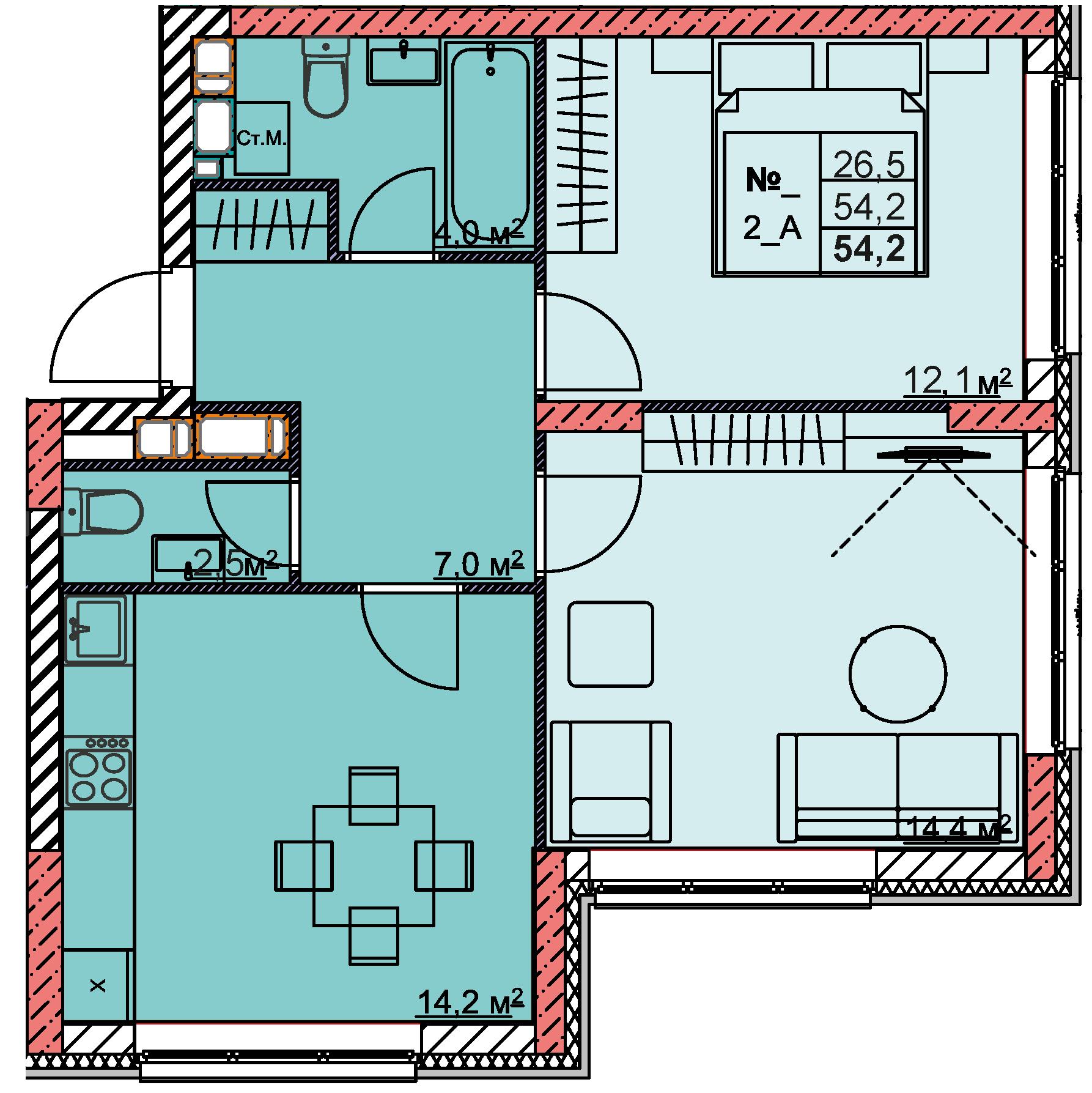 2-комнатная 54.2<span>м<sup>2</sup></span>