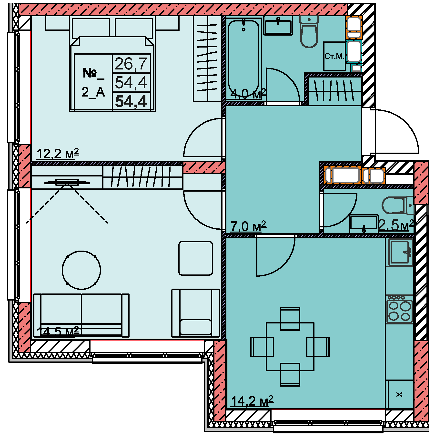 2-комнатная 54.4<span>м<sup>2</sup></span>