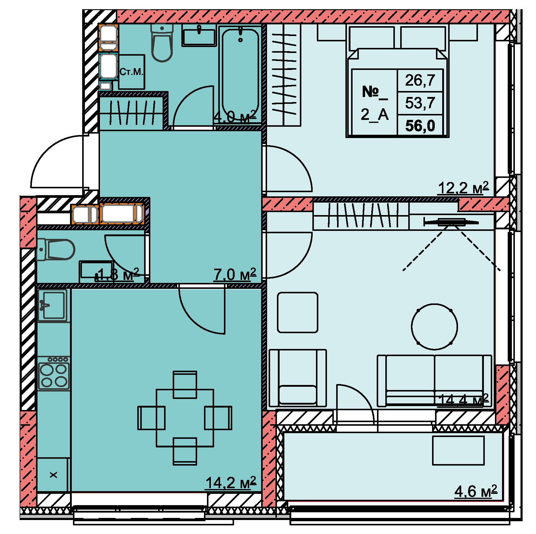 2-комнатная 56<span>м<sup>2</sup></span>