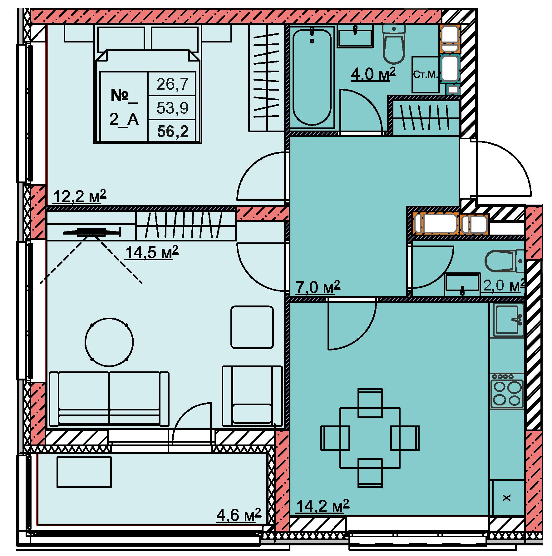 2-комнатная 56.2<span>м<sup>2</sup></span>