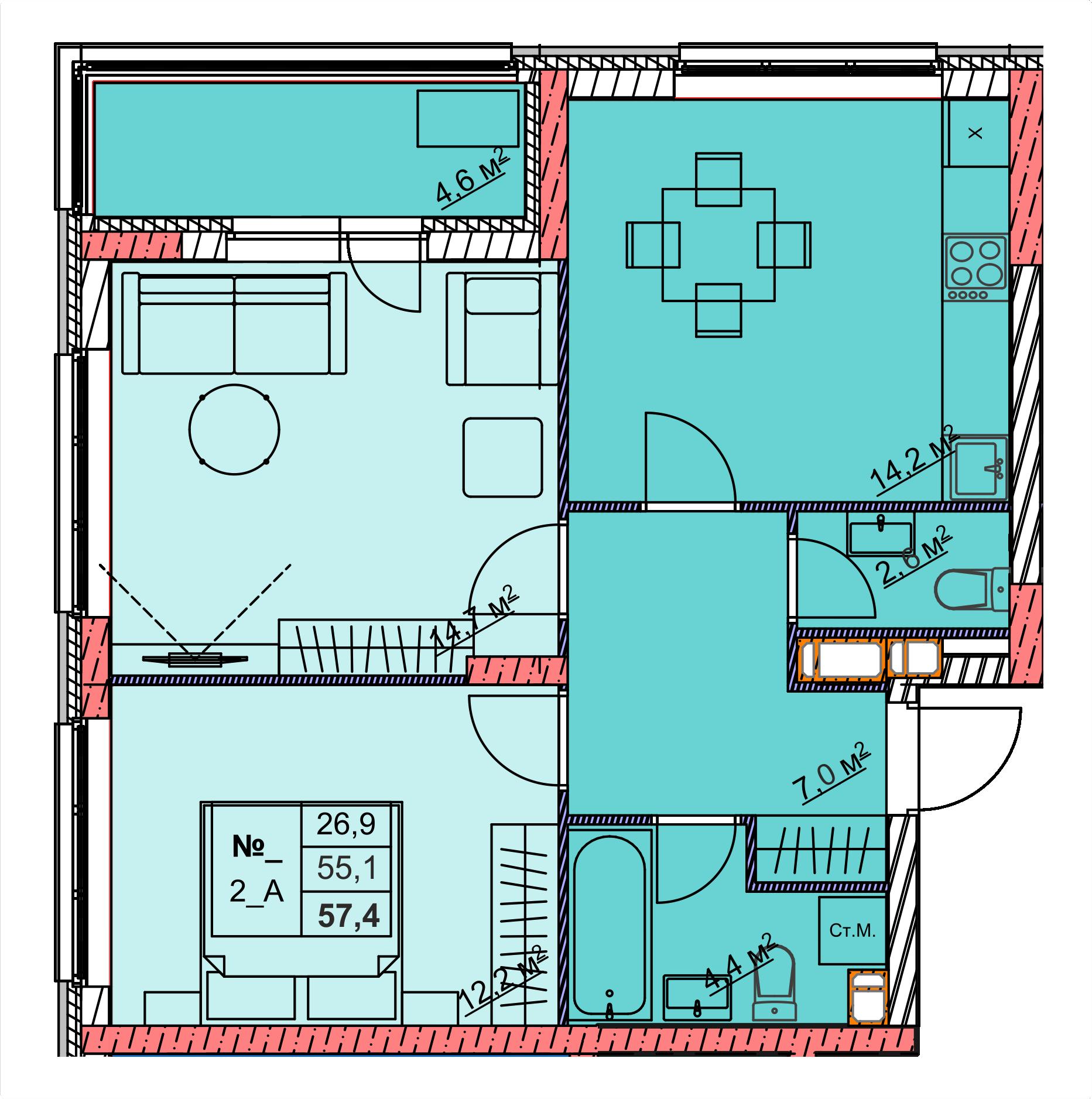 2-комнатная 57.3<span>м<sup>2</sup></span>