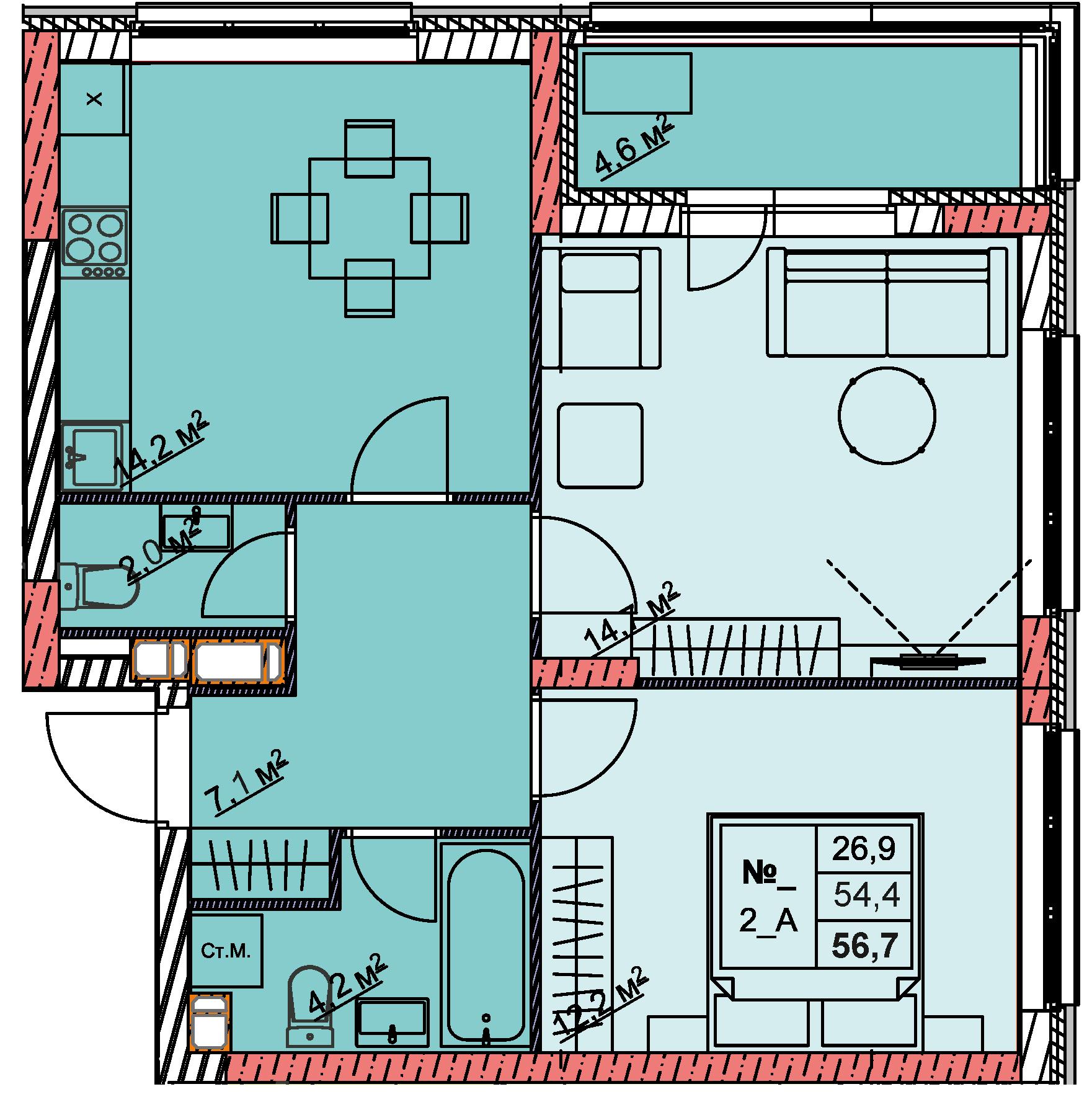 2-комнатная 56.7<span>м<sup>2</sup></span>