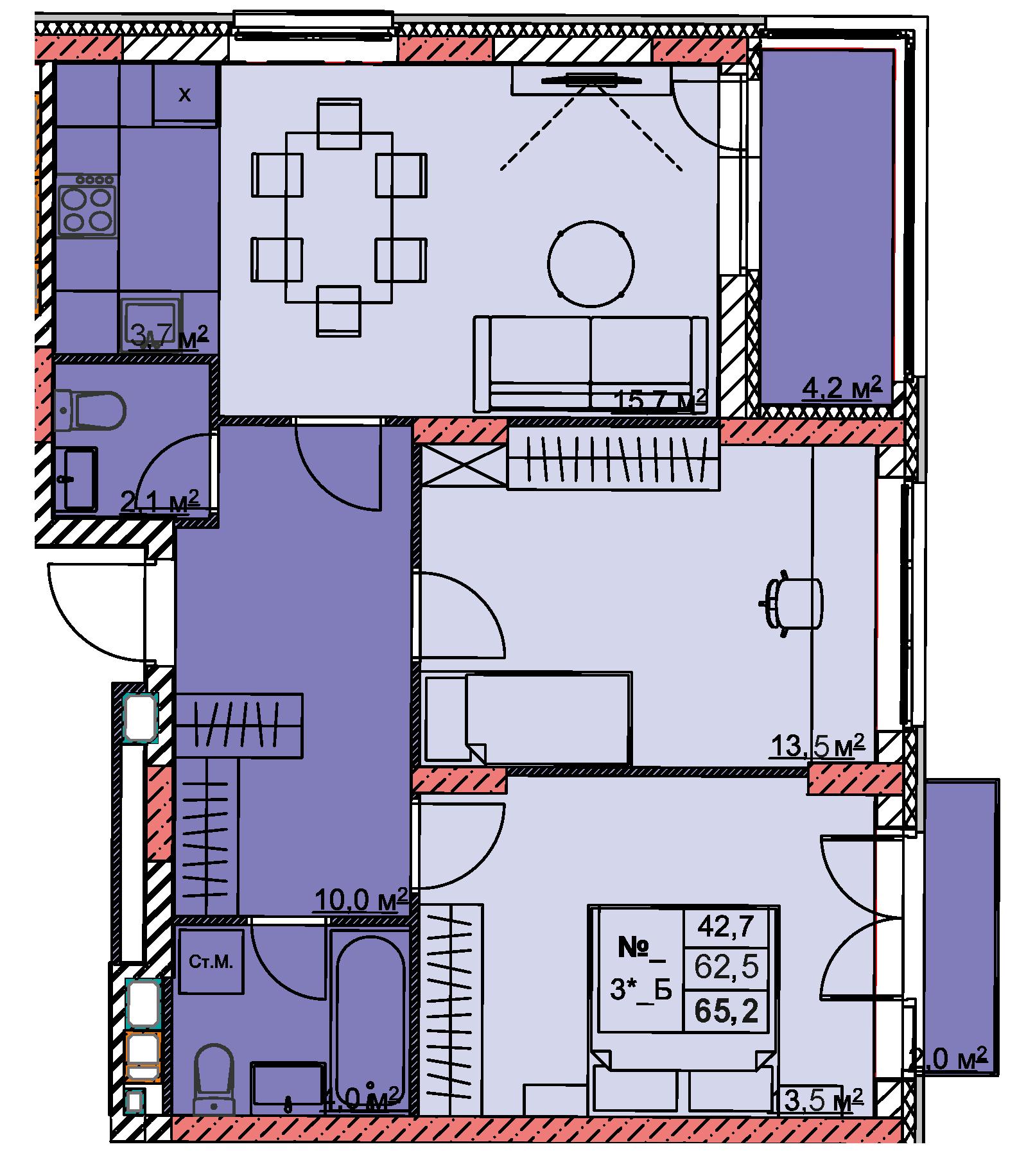3-комнатная смарт 65.2<span>м<sup>2</sup></span>