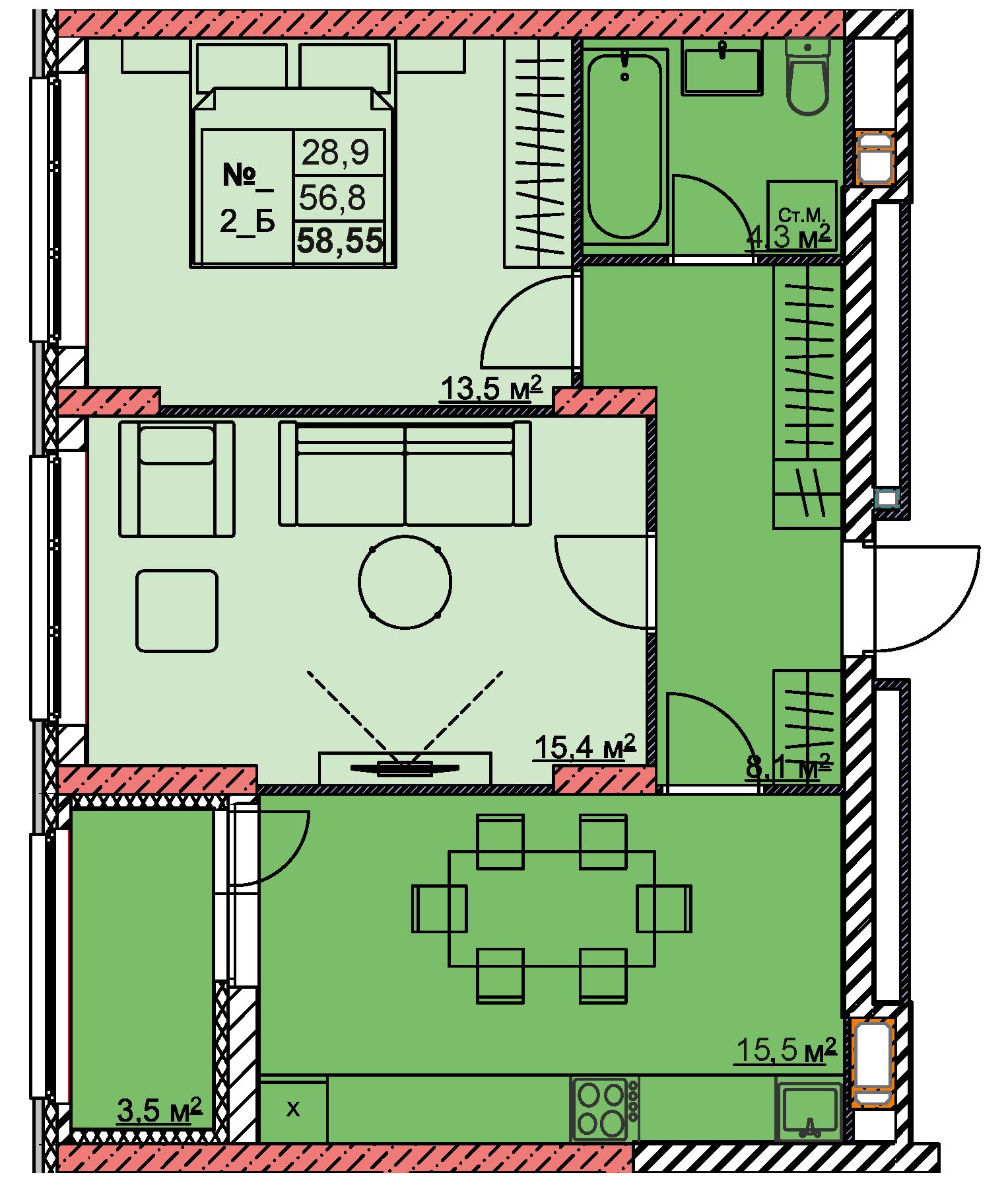 2-комнатная 58.55<span>м<sup>2</sup></span>