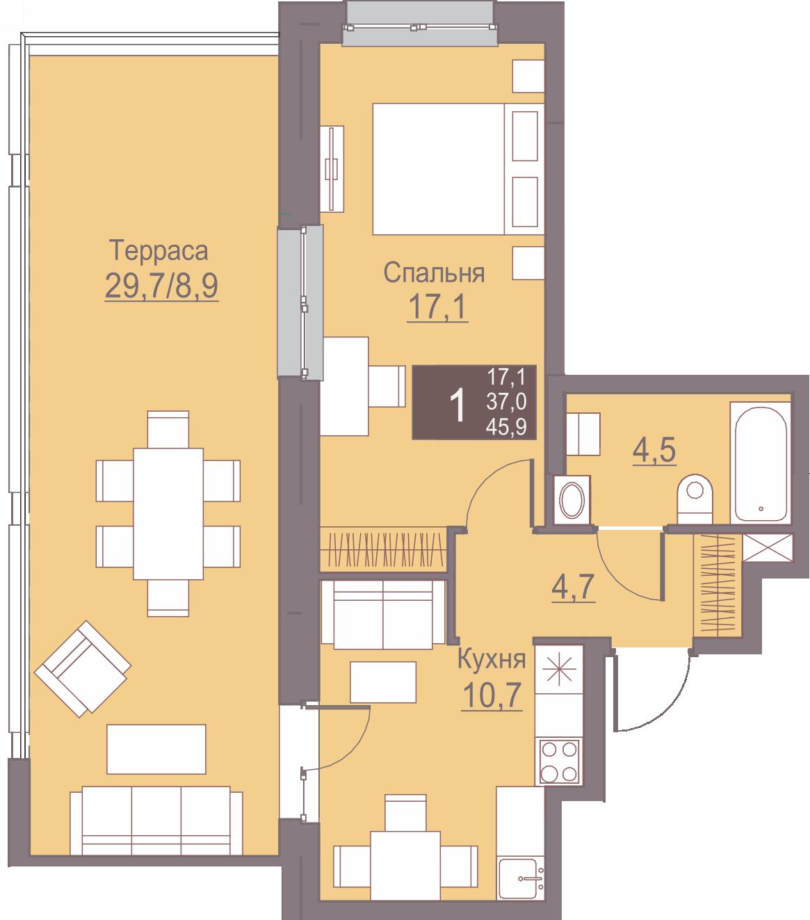 1-комнатная 45.9<span>м<sup>2</sup></span>