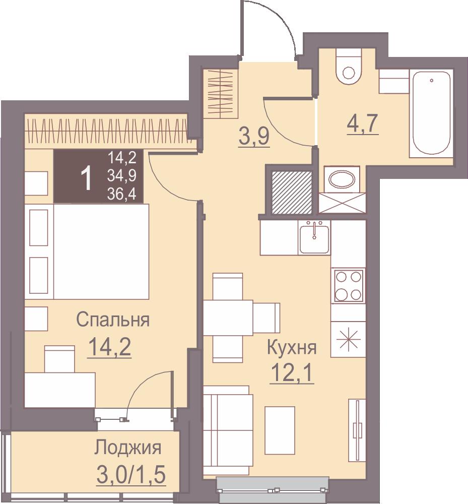 1-комнатная 36.4<span>м<sup>2</sup></span>