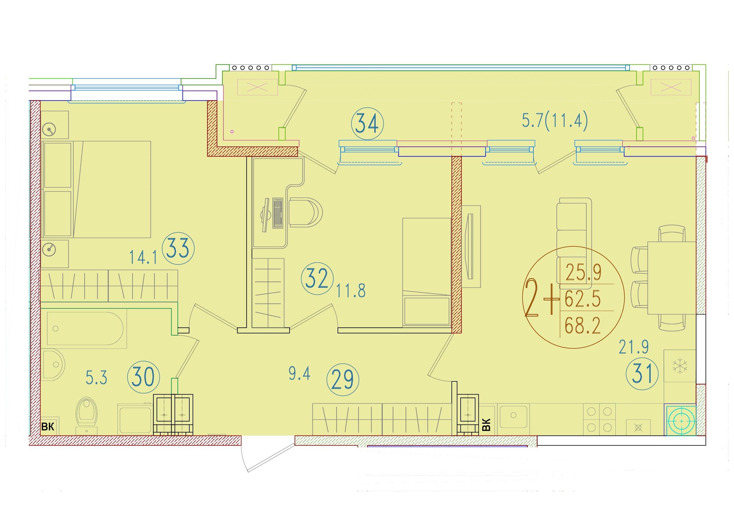 2-комнатная смарт 68.2<span>м<sup>2</sup></span>
