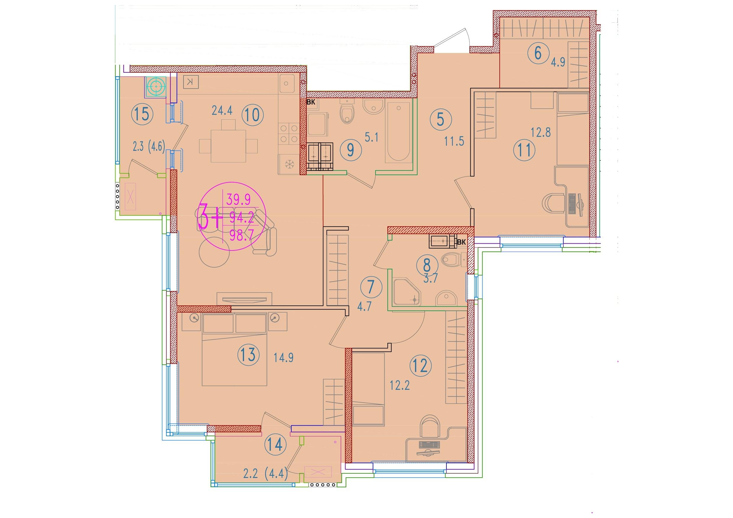 3-комнатная смарт 98.7<span>м<sup>2</sup></span>