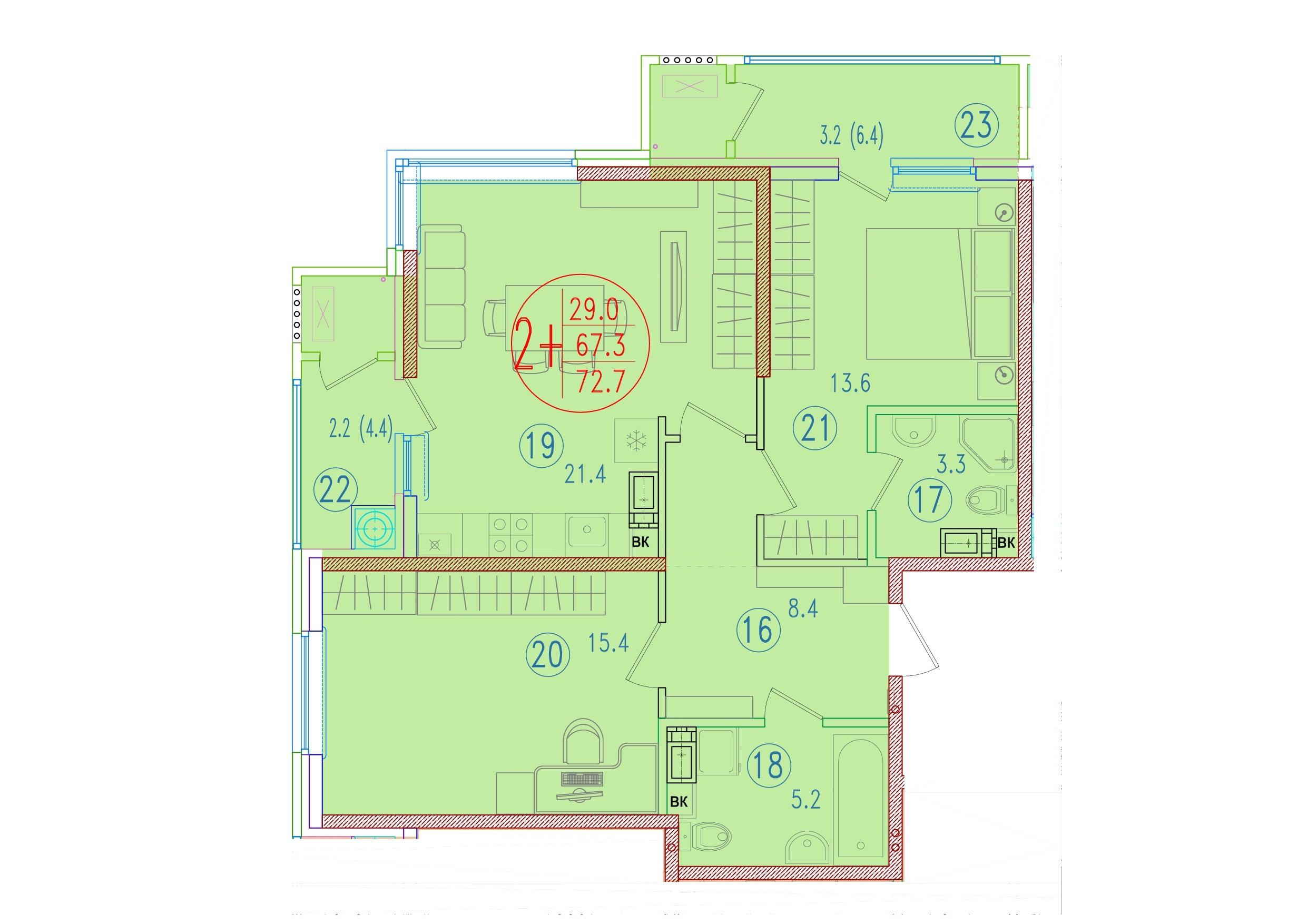 2-комнатная смарт 72.7<span>м<sup>2</sup></span>