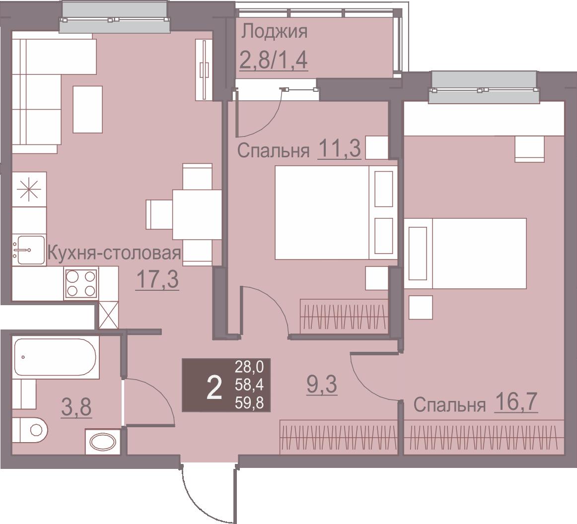 2-комнатная 59.8<span>м<sup>2</sup></span>