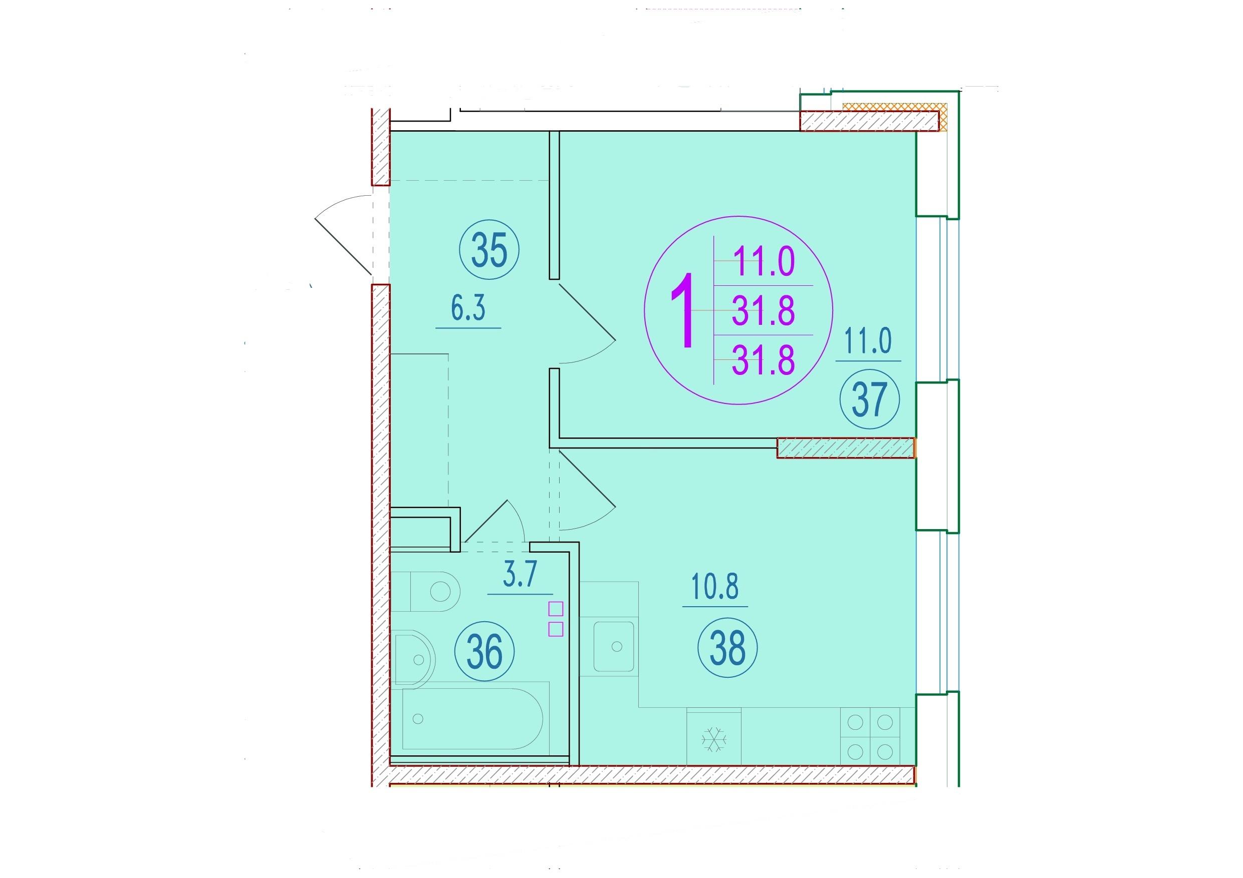 1-комнатная 31.8<span>м<sup>2</sup></span>