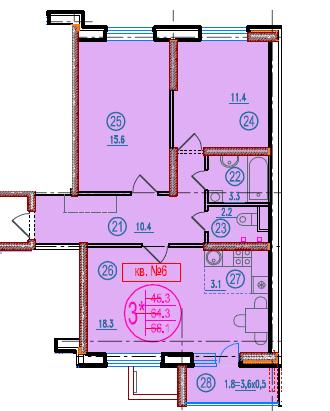 3-комнатная смарт 66.1<span>м<sup>2</sup></span>
