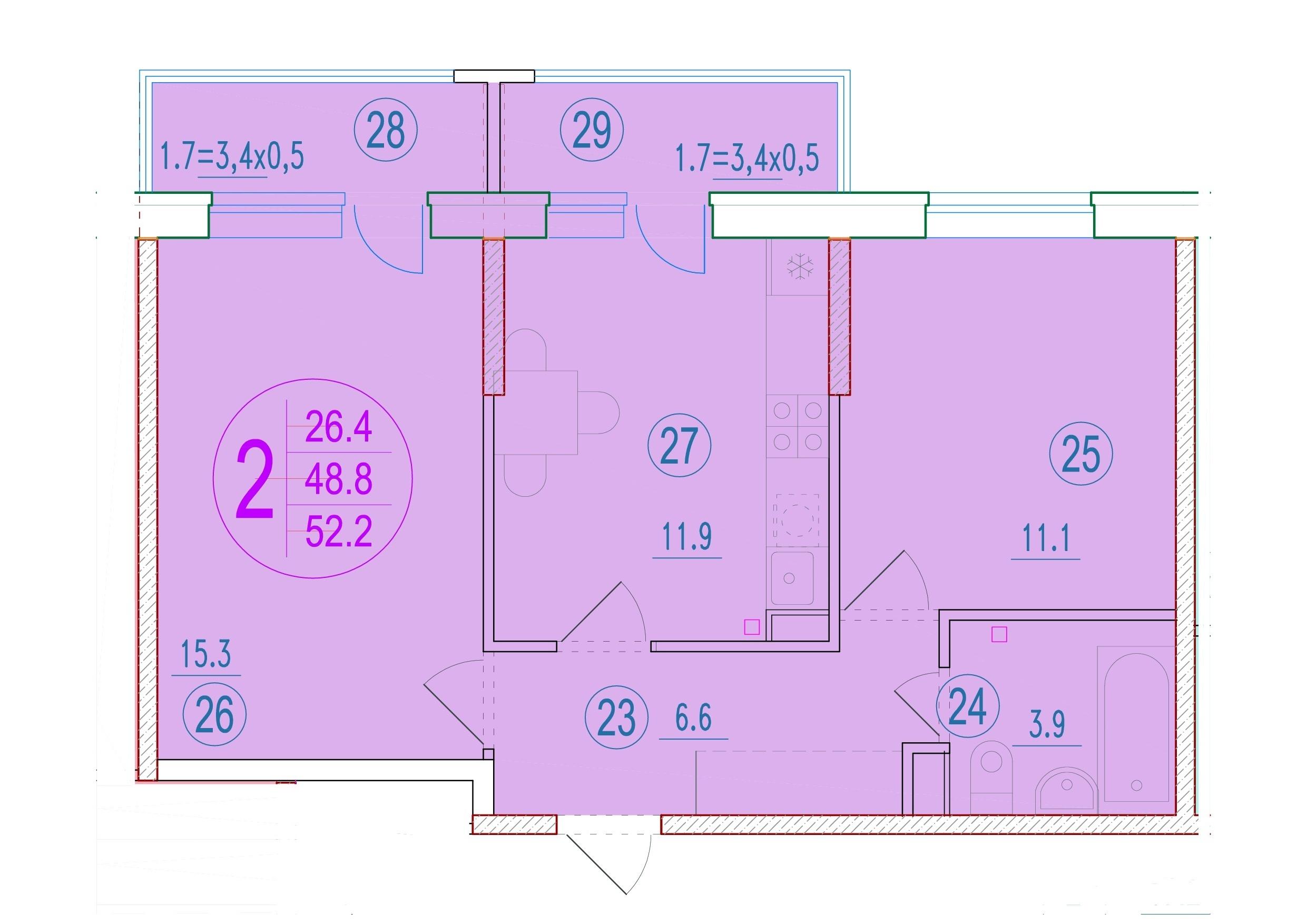 2-комнатная 52.2<span>м<sup>2</sup></span>