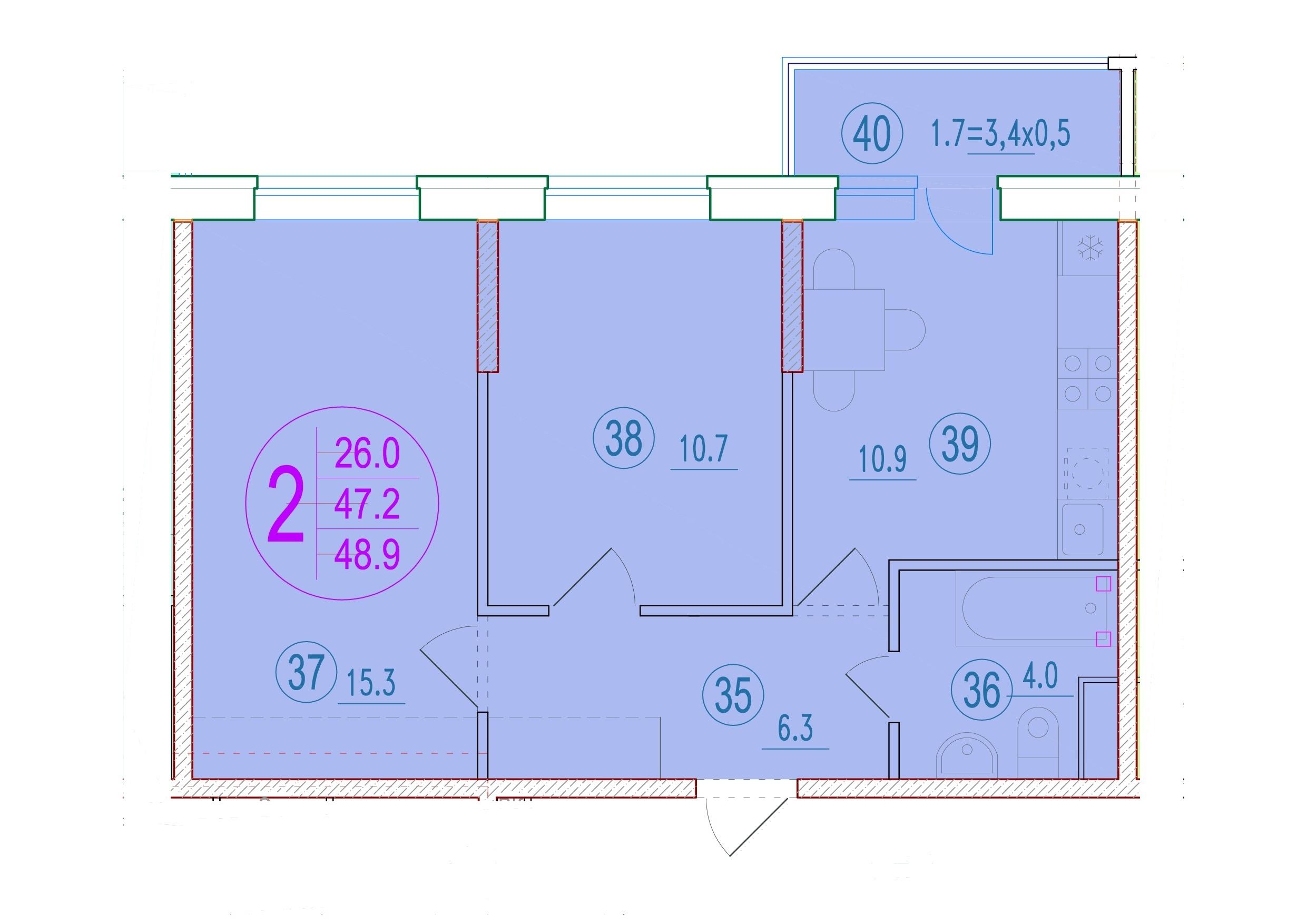 2-комнатная 48.9<span>м<sup>2</sup></span>