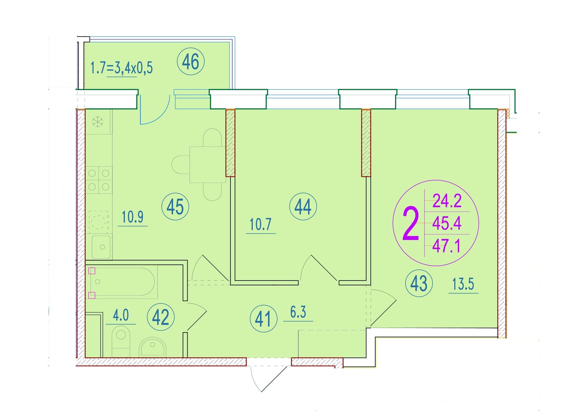 2-комнатная 47.1<span>м<sup>2</sup></span>